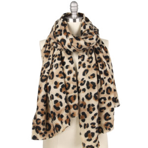 "Leopard print brushed scarf.  - Approximately 31.5"" W x 73.75"" L - 100% Acrylic"