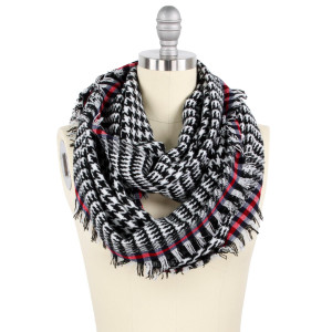 "Houndstooth infinity scarf.  - Approximately 16"" W x 34"" L - 100% Acrylic"