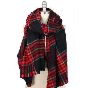 "Plaid oversized shawl / scarf.  - Approximately 80"" L x 33"" W  - 100% Acrylic"