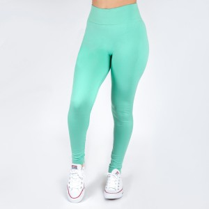 Aqua leggings. This style is one size fits all, full length, and in a summer weight. Offered in everyday essential colors to coordinate with long tops or skirts.  Made of a 92% nylon and 8% spandex mix.