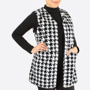 "Faux fur houndstooth print vest.  - One size fits most 0-14 - Approximately 29"" L - 100% Polyester"