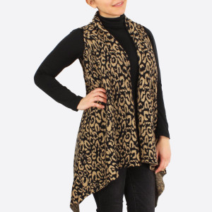 """Leopard print knit vest.  - One size fits most - Approximately 33"""" in length - 100% Acrylic"""