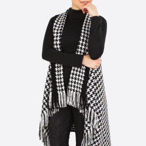 "Houndstooth knit vest with fringes.  - One size fits most 0-14 - Approximately 25"" in length - 100% Acrylic"
