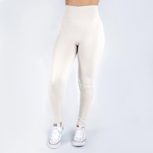White leggings. This style is one size fits all, full length, and in a summer weight. Offered in everyday essential colors to coordinate with long tops or skirts.  Made of a 92% nylon and 8% spandex mix.