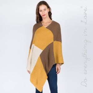 """Do everything in Love brand chenille knit color block poncho.  - One size fits most 0-14 - Approximately 34"""" L - 100% Acrylic"""