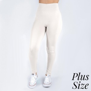 Plus size white leggings. This style is full length and in a summer weight. Offered in everyday essential colors to coordinate with long tops or skirts. Made of a 92% polyester and 8% Spandex mix.