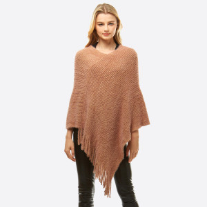 "Solid color chenille poncho with fringes.  - One size fits most 0-14 - Approximately 36"" in length - 50% Polyester, 50% Nylon"