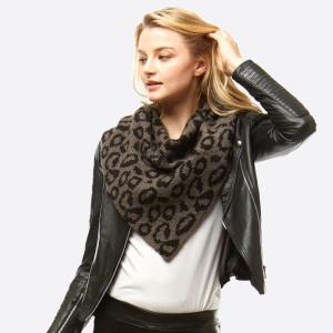 "Leopard print knit infinity scarf.  - Front approximately 21"" W x 24"" L; Back approximately 21"" W x 14"" L - 100% Acrylic"