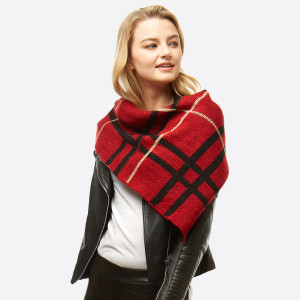 """Plaid print knit infinity scarf.  - Front approximately 21"""" W x 24"""" L; Back approximately 21"""" W x 14"""" L - 100% Acrylic"""