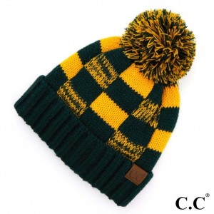 C.C HAT-58 Buffalo check pattern beanie with fuzzy lining  - One size fits most - 100% Acrylic