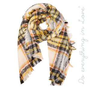 "Do everything in Love brand heavyweight soft touch plaid scarf with frayed edges.  - Approximately 27"" W x 82"" L - 100% Polyester"