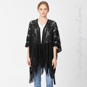 """Do everything in Love brand crochet knit kimono with fringes.  - One size fits most 0-14 - Approximately 32"""" L - 100% Acrylic"""