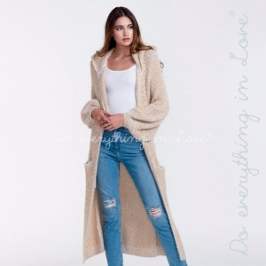 Do everything in Love brand metallic hooded maxi cardigan with bell sleeves and pocket details.