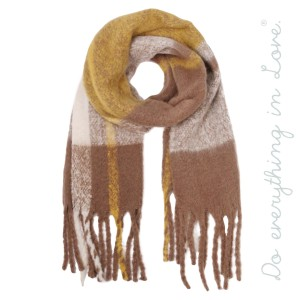 "Do everything in Love brand heavyweight soft touch plaid scarf with fringes.  - Approximately 20"" W x 88"" L - 100% Polyester"