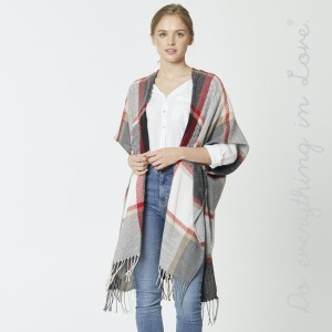 """Do everything in Love brand herringbone plaid print kimono with fringes.  - One size fits most 0-14 - Approximately 39"""" L - 100% Acrylic"""