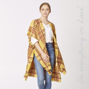 "Do everything in Love brand plaid print kimono.  - One size fits most 0-14 - Approximately 37"" L - 100% Polyester"