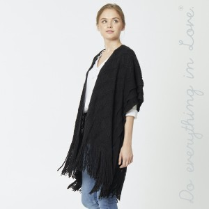 """Do everything in Love brand diamond textured woven kimono with enlarged fringes.   - One size fits most 0-14 - Approximately 39"""" L - 100% Acrylic"""