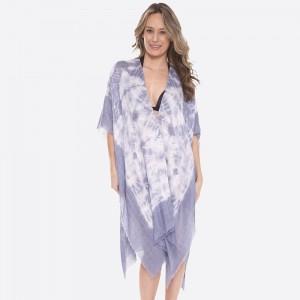 "Women's lightweight tie-dye fringe kimono.  - One size fits most 0-14 - Approximately 40"" L - 100% Viscose"
