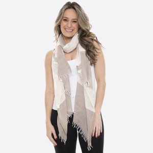 """Women's lightweight chunky pinstripe scarf with frayed edges.  - Approximately 33"""" W x 85"""" L - 100% Viscose"""