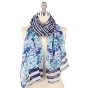 "Women's lightweight blue floral stripe scarf.  - Approximately 28"" W x 64"" L - 100% Polyester"