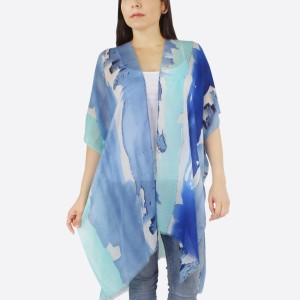 """Women's lightweight watercolor stripe kimono.  - One size fits most 0-14 - Approximately 37"""" L - 100% Polyester"""