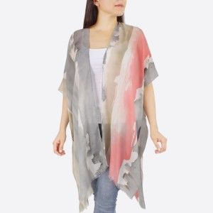 "Women's lightweight watercolor stripe kimono.  - One size fits most 0-14 - Approximately 37"" L - 100% Polyester"