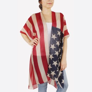 "Women's lightweight American Flag kimono.  - One size fits most 0-14 - Approximately 37"" L - 100% Polyester"