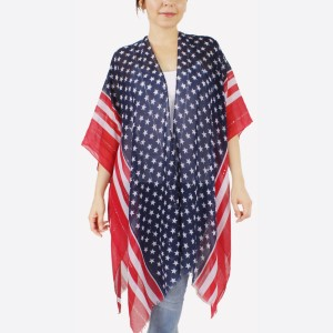 "Women's lightweight stars and strips sequin kimono.  - One size fits most 0-14 - Approximately 37"" L - 100% Polyester"
