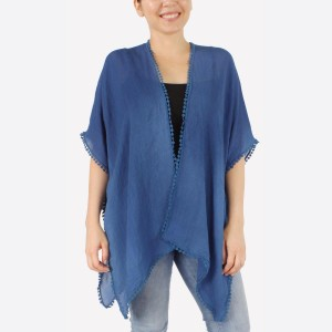 """Women's lightweight crochet trim short kimono with crochet back details.  - One size fits most 0-14 - Approximately 27"""" L  - 100% Polyester"""