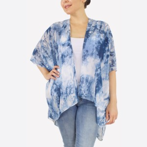 """Women's lightweight sheer marble tie-dye short kimono.  - One size fits most 0-14 - Approximately 29"""" L - 100% Polyester"""