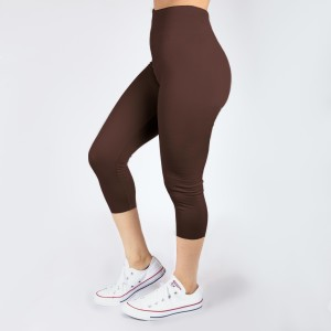 One size fits most, seamless brown capris. Summer weight, Lycra spandex leggings.