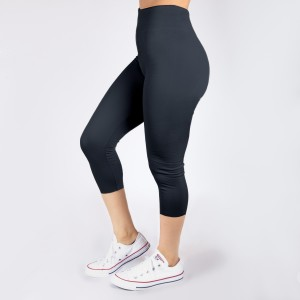 One size fits most, seamless gray capris. Summer weight, Lycra spandex leggings.