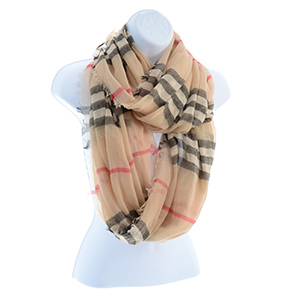 "100% Polyester, lightweight infinity scarf in a beige plaid design with frayed edges. Approximately 37""L x 34""W."