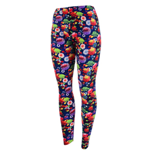 Dark blue leggings featuring multi colored flowers. Polyester and spandex blend. One size fits most.