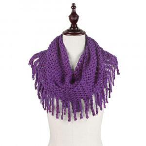 2-Tone mini tube scarf with fringe. 100% acrylic.