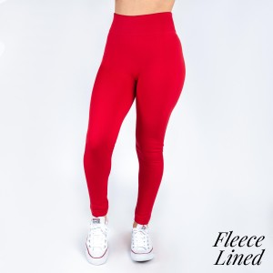 New Kathy / New Mix red, fleece lined leggings are seamless, chic, and a must-have for every wardrobe. These cozy, full-length leggings are versatile, perfect for layering, and available in many shades. Smooth fabric, 92% Nylon 8% Spandex. One size fits most, fits US women's 0-14.