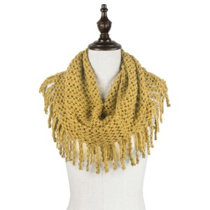 """Solid color tube scarf with fringes.  - Approximately 27"""" x 12"""" Loop - 100% Acrylic"""