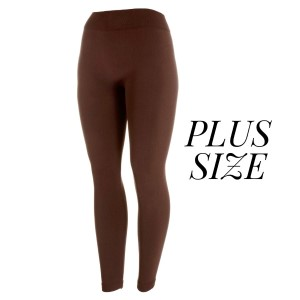 Plus size brown leggings, full length, winter weight Lycra spandex leggings. Offered in everyday essential colors to coordinate with long tops or skirts.