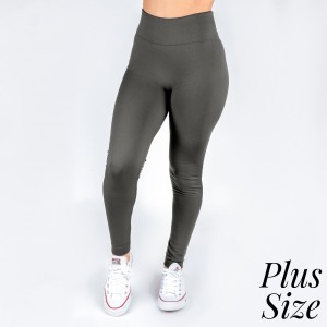 Plus size charcoal gray leggings. This style is full length and in a summer weight. Offered in everyday essential colors to coordinate with long tops or skirts. Made of a 95% polyester and 5% Spandex mix.