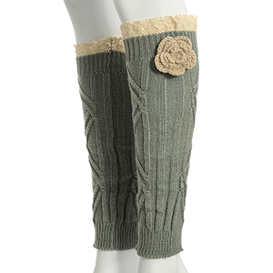 "13"" Gray tone crochet boot toppers with a beige crochet flower featuring an ivory lace rimmed top."