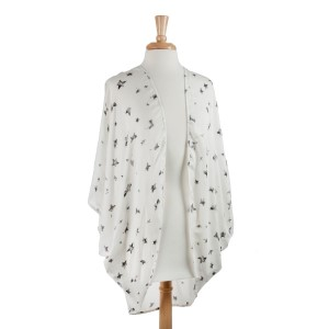 Lightweight white cotton-polyester blend kimono top with stars. One size fits most.