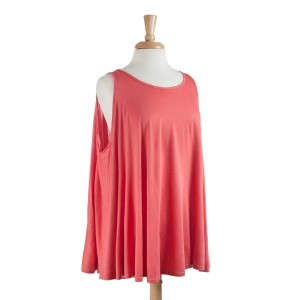 Lightweight coral cotton-spandex blend top that can be worn both as a poncho or a vest. One size fits most.