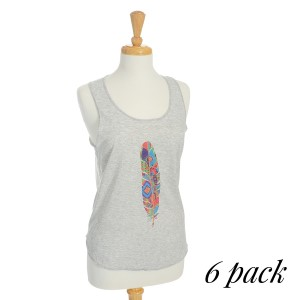 Multi Color Single Feather Tank Top. Pack of 6 (2-S, 2-M, 2-L). Relaxed fit tank top in gray. 65% Cotton and 35% Polyester.