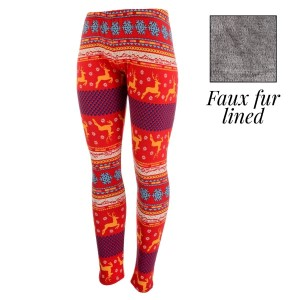 Red peach skin leggings with orange reindeer and faux fur lining. Polyester and spandex blend. One size fits most.