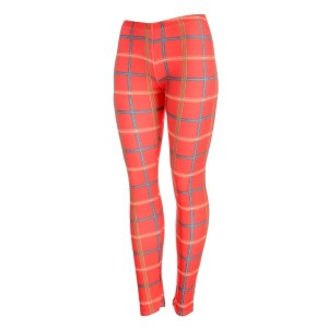 Orange leggings with blue and yellow plaid print. Made of a 92% polyester and 8% Spandex blend. One size fits most.
