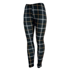 Black and brown plaid print leggings. Polyester and spandex blend. One size fits most.