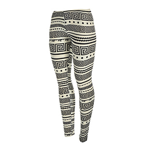 Peach skin black and white Aztec and Greek Key printed leggings. Polyester and spandex blend. One size fits most.