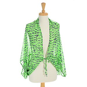 Lightweight kimono top with a navy blue and lime green ikat pattern. 100% Polyester. One size fits most.