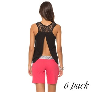 Tank top with open back and laced shoulder in black. Pack of 6 (S-1, M-2, L-2, XL-1). 95% Polyester - 5%  Spandex.