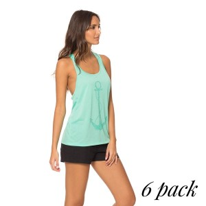 Hello Miss Macrame Tank - Pack of 6 (1-S,2-M,2-L,1-XL) - Anchor print tank top with macrame back detail. 60% Cotton - 40% Polyester.